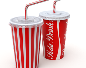 3D Drink Cup with Straw