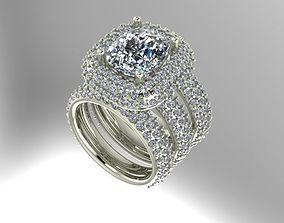 3D print model Multi halo wedding set pave