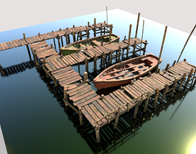 3D model PBR Wooden Pier With Fishing Boats