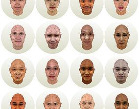 3D asset 16 human heads collection