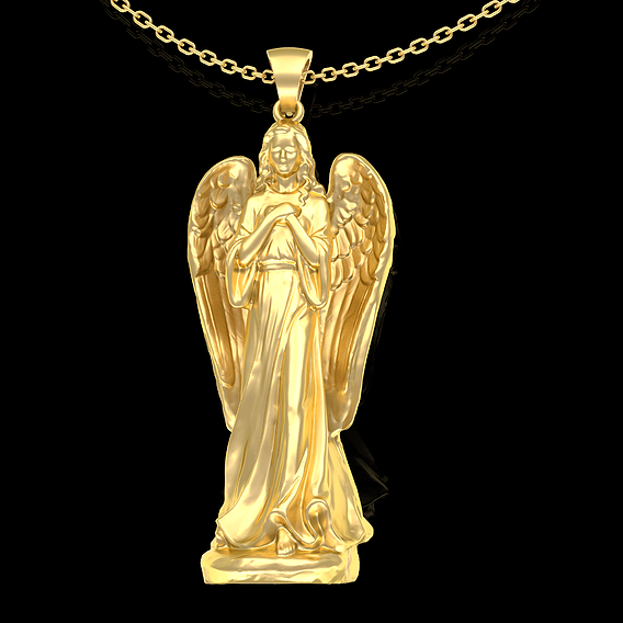 Angel Girl Pendant jewelry Gold 3D print model