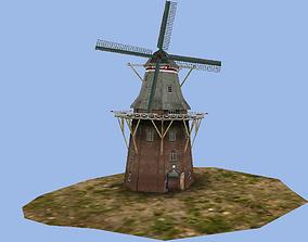 3D asset Dutch old windmill
