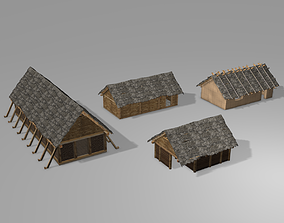3D model game-ready Slavic wooden houses with interior