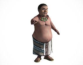 rigged 3D Fat african cartoon