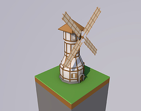 Low-Poly Windmill 3D asset