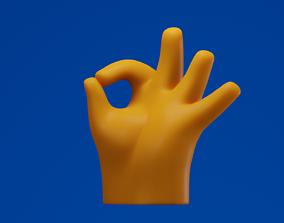 sign Ok Hand Finger Emoji 3D model