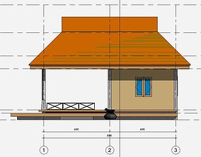 hut Small house in draft revit 3D