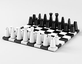 Modern SciFi Chess Pieces and Board 3D printable model