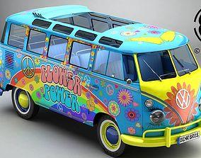 3D model Volkswagen Type 2 Samba 1963 Hippie