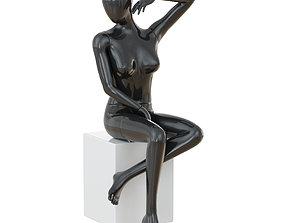 Seated black female mannequin 47 3D