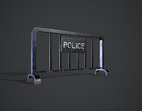 3D model game-ready Police Barricade