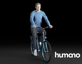 3D Humano Casual man in blue sweater cycling