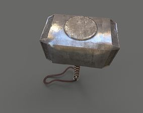 low-poly Mjolnir low poly model with 4k Textures