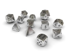 3D asset Polyhedral Dice Set - Metallic