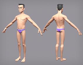Cartoon male character Den base mesh 3D model