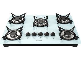Fogatti Cooktop 5 Burners V500 TC White 3D model