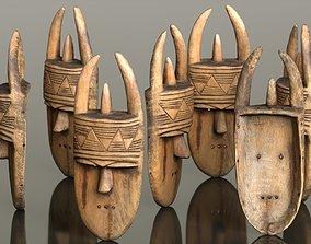 3D asset Afrikan Mask Carved Wood 46