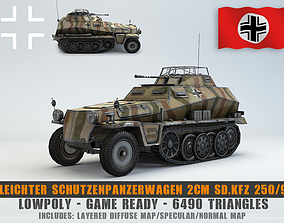3D model Low Poly SdKfz 250 9 2cm Leichter
