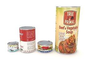 3D model Canned Food Set