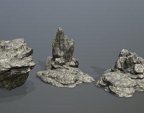 Rock Set grey 3D model game-ready