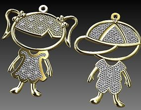 PENDANT BOY GIRL CHILD DIAMOND gem 3D print model