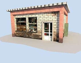 3D asset low poly town building