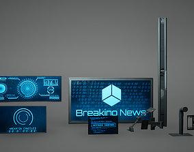 3D asset Cyberpunk Sci fi Monitor Set Low Poly Game Ready