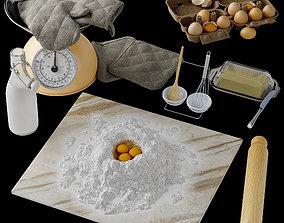 3D Kitchen decorative set food