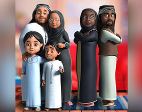 rigged 3D Arab muslim cartoon familly rigging