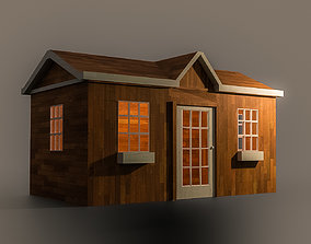 A Wooden Shed with two different textures 3D model
