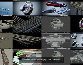 3D model Futuristic Roads Plus Flying Cars sci