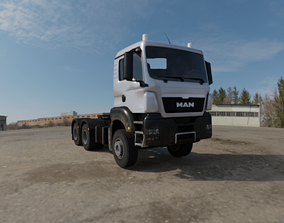 3D Low Poly Truck MAN TGS Low Loader low-poly