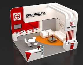 Exhibition booth 5x6m - 2 sides open 3D model - 001 3D