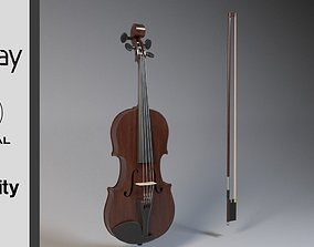 3D asset Violin model with bow