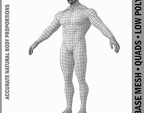 3D model Bodybuilder Male Base Mesh in A Pose