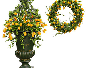 Vase with flowers and wreath 03 3D