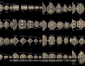 110 nokta turky 6 size 3dm rhino matrix ring earrings 1