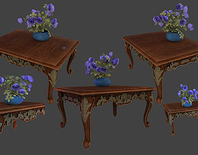 3D model table with flowers beautiful