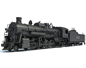 3D model Black Steam Locomotive
