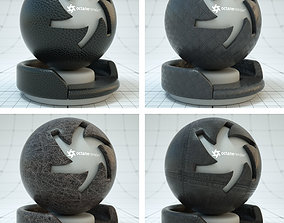 Dark Black Fabric Materials Leather 3D model