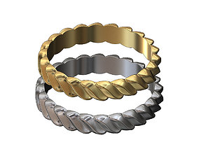 Twisted croissant braid band silver 3D print model