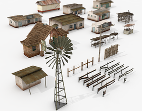 3D model low-poly Village Assets Collection