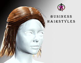 3D model Business Hairstyles - Half up with side swept