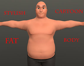 rigged Cartoon Male Fat Character Rigged 3D model