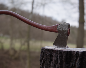 3D model realtime Realistic Axe outdoors