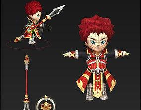 3D asset Clash royale style animated Crimson Knight 1