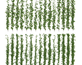 3D Wall of ivy leaves