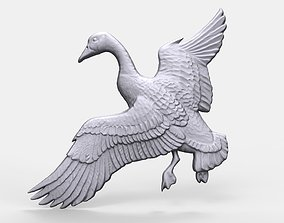 Canadian goose bas relief flying 3D print model