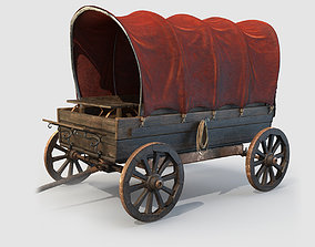 Wooden Covered Cart 3D Model
