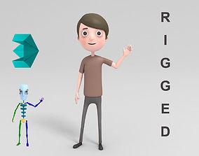 3D model teen Cartoon Man Rigged